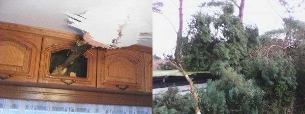 Sturmschaden am Dauercamper Wohnwagen